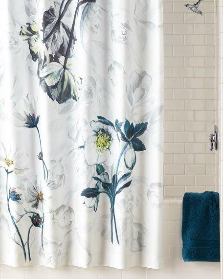 Blue And White Floral Print Shower Curtain