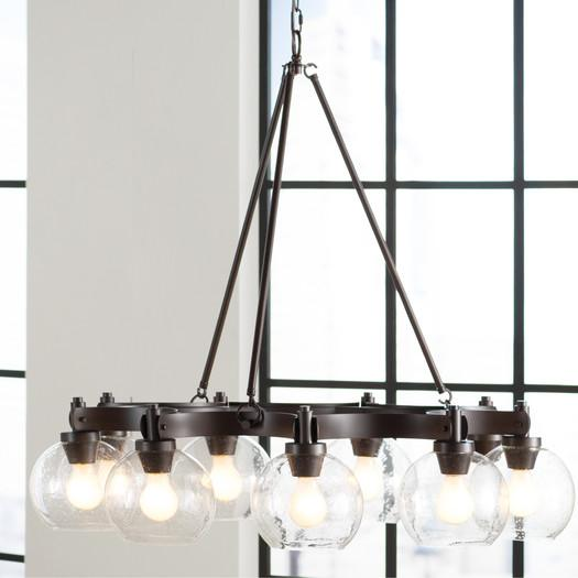 Nine Light Textured Seeded Glass Chandelier
