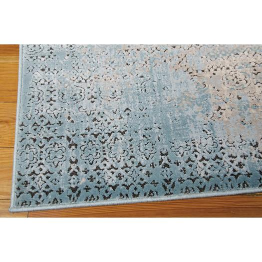 Blue And Gray Textured Vintage Area Rug