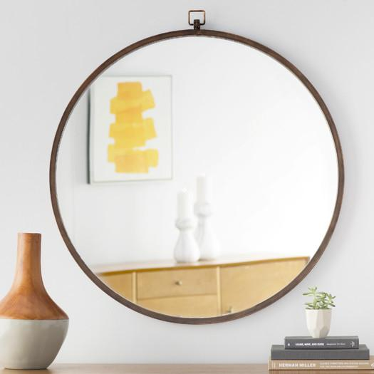 Bronze Framed Rectangle And Round Mirror