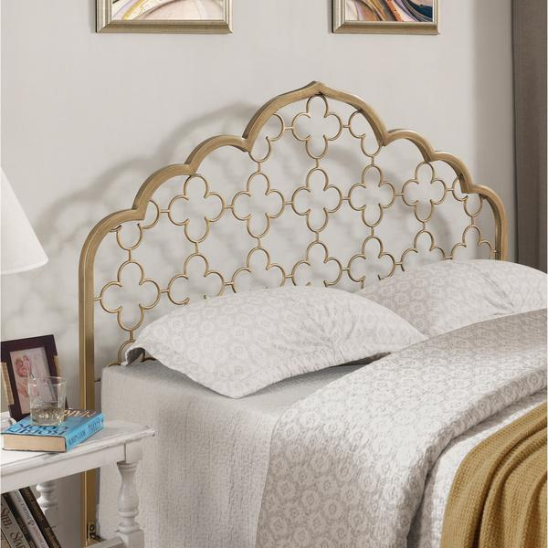 Moroccan Quatrefoil Brushed Gold Queen Headboard
