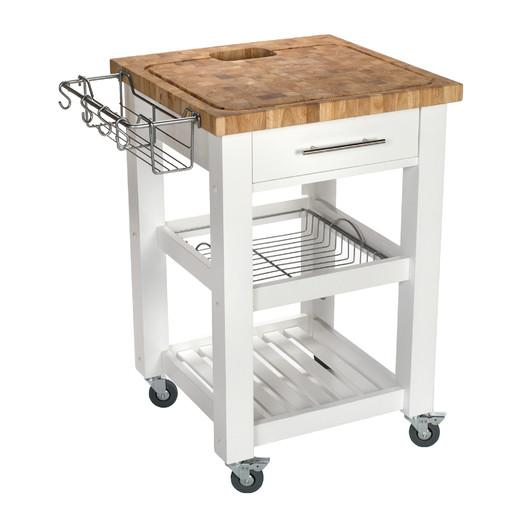 Superb White And Brown Butcher Block Kitchen Cart