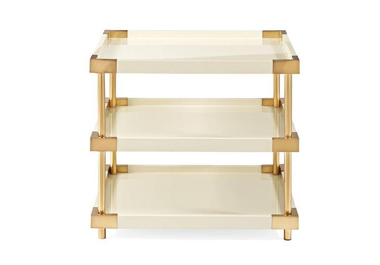 Ivory Three Tier Tray End Table