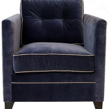 Navy High Arm Upholstered Chair