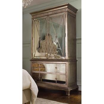 Distressed Silver Leaf Mirrored Armoire