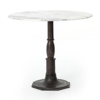 White Marble Round Pedestal Table