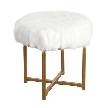 Tavi Ivory Faux Mongolian Fur Stool