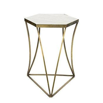 White Hex Steel Side Table