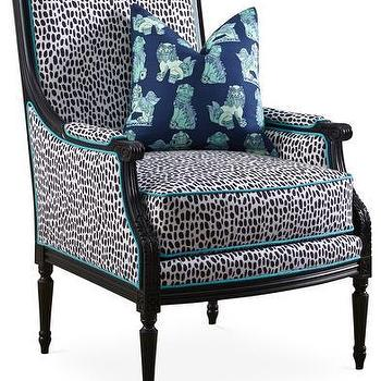 Blue And White Dotted Pattern Upholstered Chair