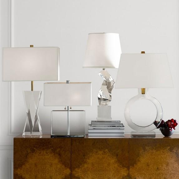 White rectangular table lamp crystal prism table lamp mozeypictures Choice Image