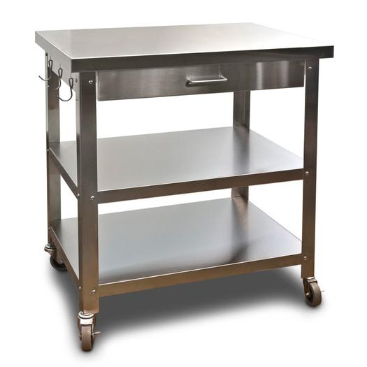 Bryant Mobile Kitchen Cart: Industrial Style Steel And Wood Table Cart