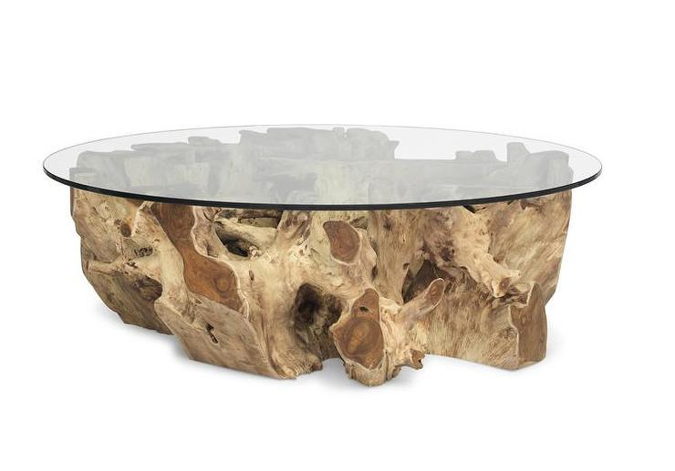 Admirable Brown Teak Root Base Glass Top Cocktail Table Download Free Architecture Designs Scobabritishbridgeorg