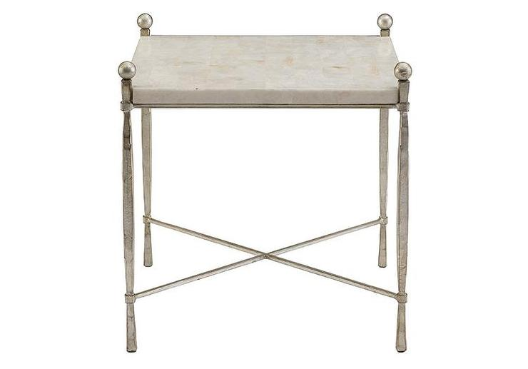 Crystal White Stone Top Side Table