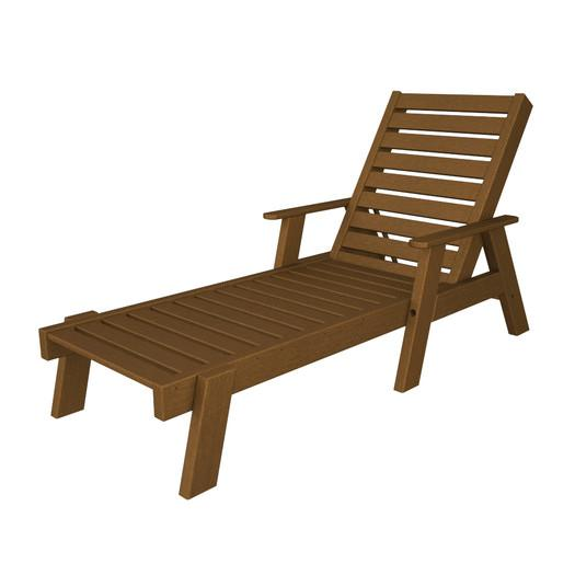 Brown Wooden Outdoor Chaise Lounge