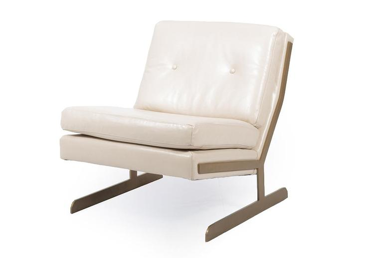 Armless Leather Chairs white low sit angled back leather chair