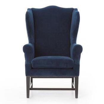 Reynolds Navy Velvet Wingback Chair