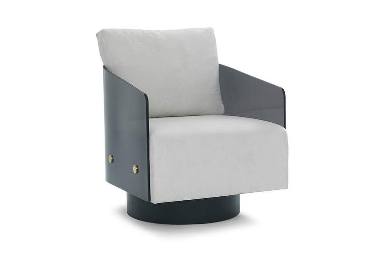 Fine Modern Gray Acrylic Curved Swivel Chair Onthecornerstone Fun Painted Chair Ideas Images Onthecornerstoneorg