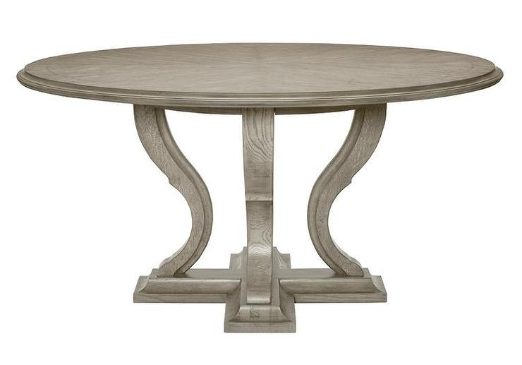 Gray Wooden Curved Base Round Dining Table