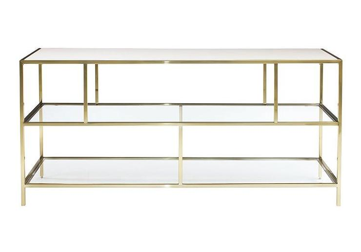 White Leather Top Three Tiered Glass Entertainment Console