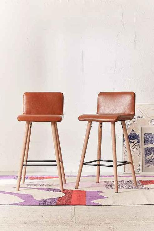 Brown Vegan Leather Counter Stool