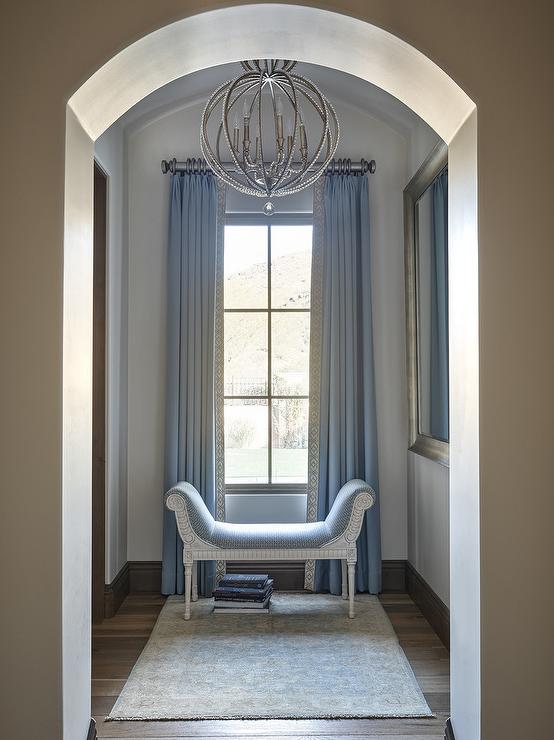 Venetian Beaded Leaner Mirror Contemporary Entrance