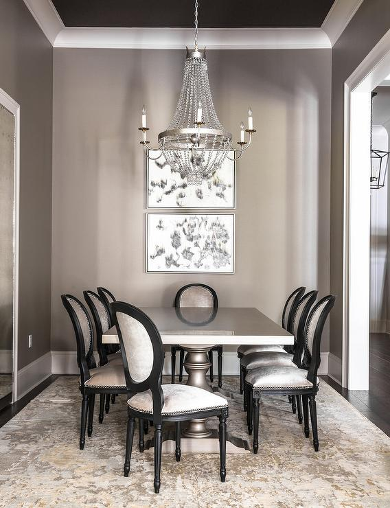 Gray Dining Room With Gray Dining Table And Gold And Gray