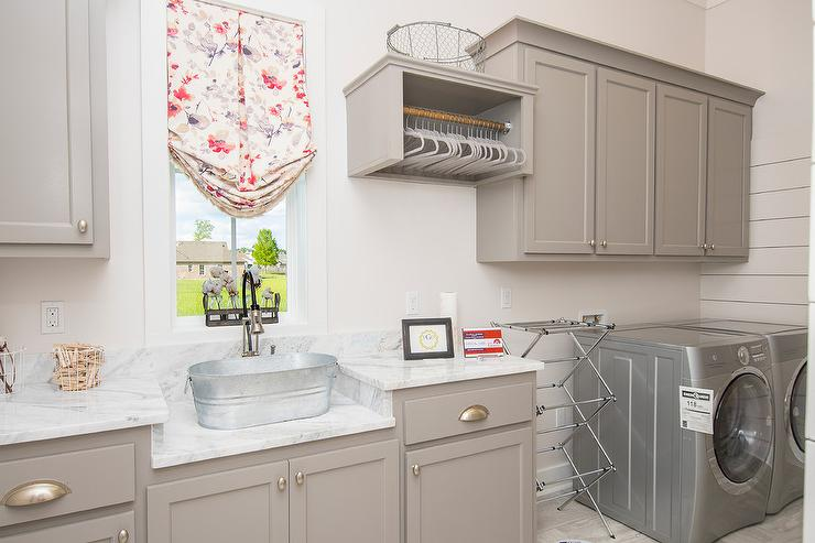 Gray Laundry Room Cabinets With Bucket Sink