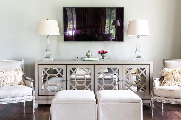 Gray Mirrored TV Cabinet with Crystal Lamps - Transitional ...
