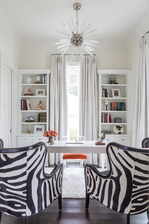 Delightful White Office With Black And White Zebra Wingback Chairs