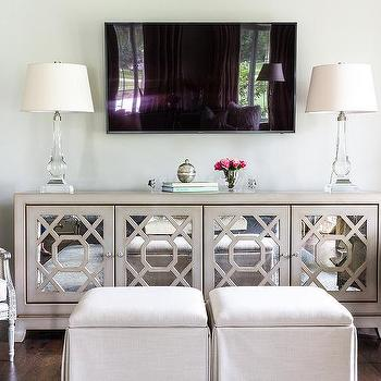 Gray Mirrored TV Cabinet With Crystal Lamps
