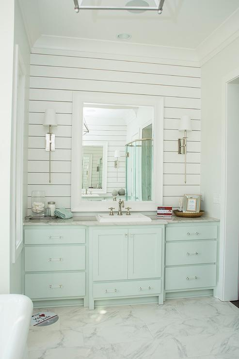 Blue And Gray Powder Room With Turquoise Blue Shiplap Trim