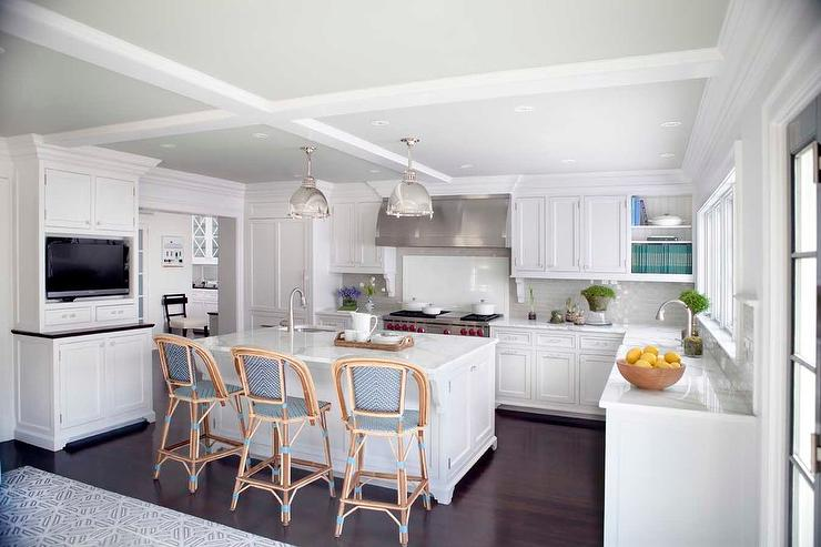 u shaped television white and blue kitchen with blue bistro bar stools transitional