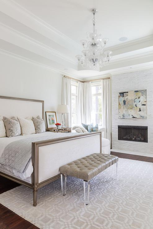 White And Taupe Bedroom With White And Gray Mosaic Marble Fireplace