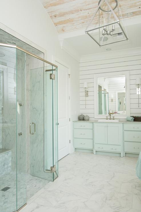 Turquoise Blue Cottage Bathroom With Barrel Ceiling