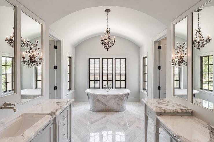 Gray Marble Master Bathroom With Lucite Sputnik Flush