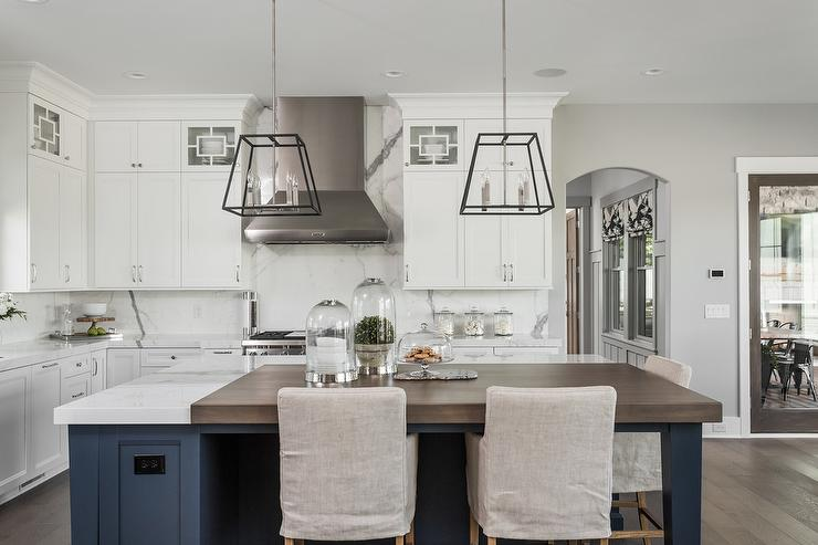Blue Kitchen Island With Walnut Countertop Transitional