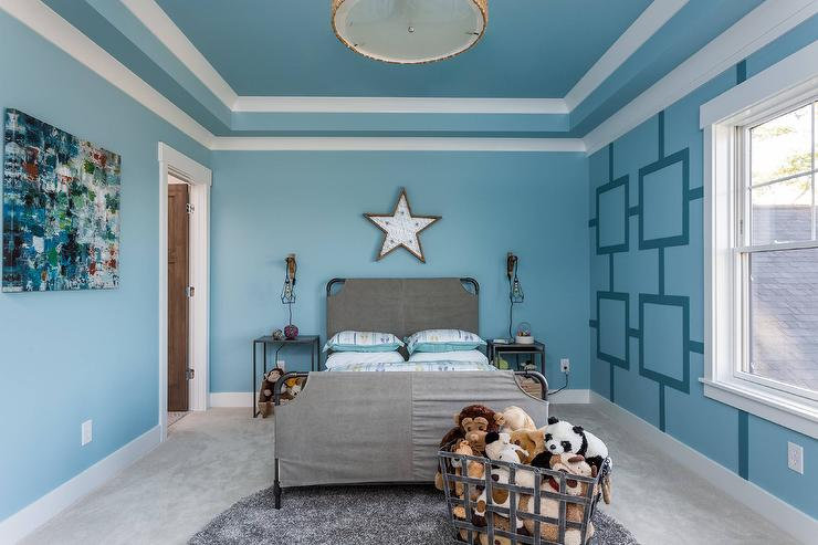 blue boy bedroom with gray slipcovered bed contemporary boy s room