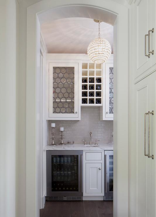Blue Butler Pantry Cabinets with Metal Lattice Cabinet Doors ...