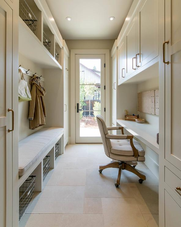 Long galley style mudroom and office combo transitional for Bathroom mudroom combo
