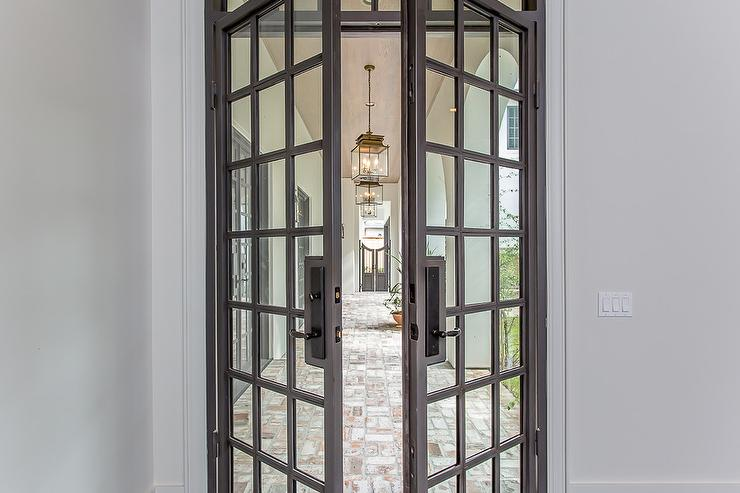 Gray Steel Double Patio Doors With Glass Panels