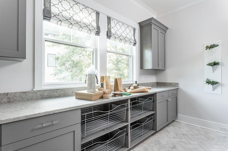 Gray Laundry Room With Herb Garden Transitional