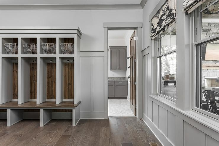 Gray Mudroom Lockers With Barn Board Trim Transitional