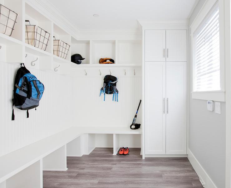 Cottage Mudroom With Wood Top Bench And Gray Coat Hooks