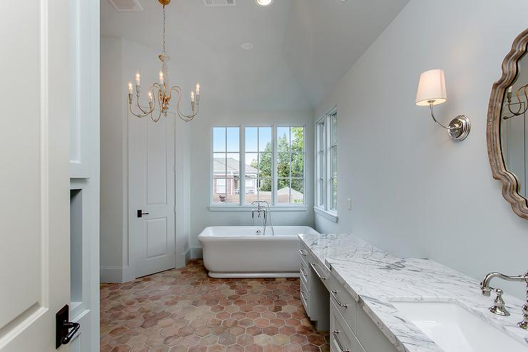 Terracotta Bathroom Floor Tiles. White And Gray Master Bath With Hexagon Terracotta Floor Tiles