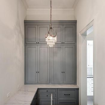 Blue Gray WEt Bar Cabinets With Marble LIke Countertops