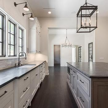 Delightful Brown Kitchen Island With Black Leathered Granite Countertops