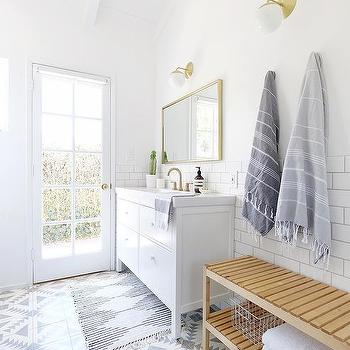 white and gray bathroom with ikea slatted bench - Ikea Bathroom Design