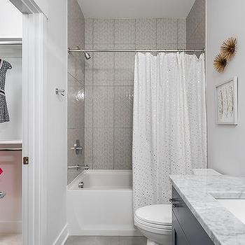girl bathroom with gold sparkly shower curtain - Bathtub Shower Combo Design Ideas