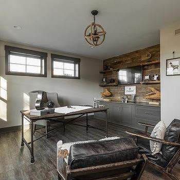 Vintage Industrial Home Office With Jute Rope Chandelier