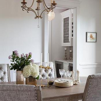 Wonderful Honey Stained Oval Dining Table With Gray Upholstered Dining Chairs